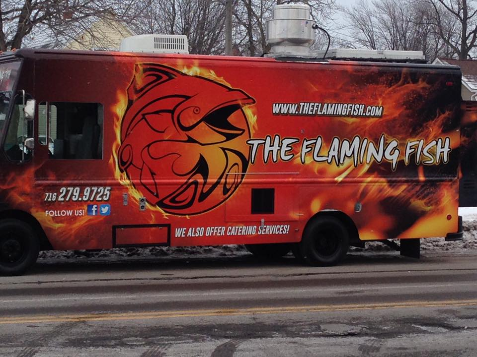 We 39 re back the flaming fish food truck for Flaming fish food truck